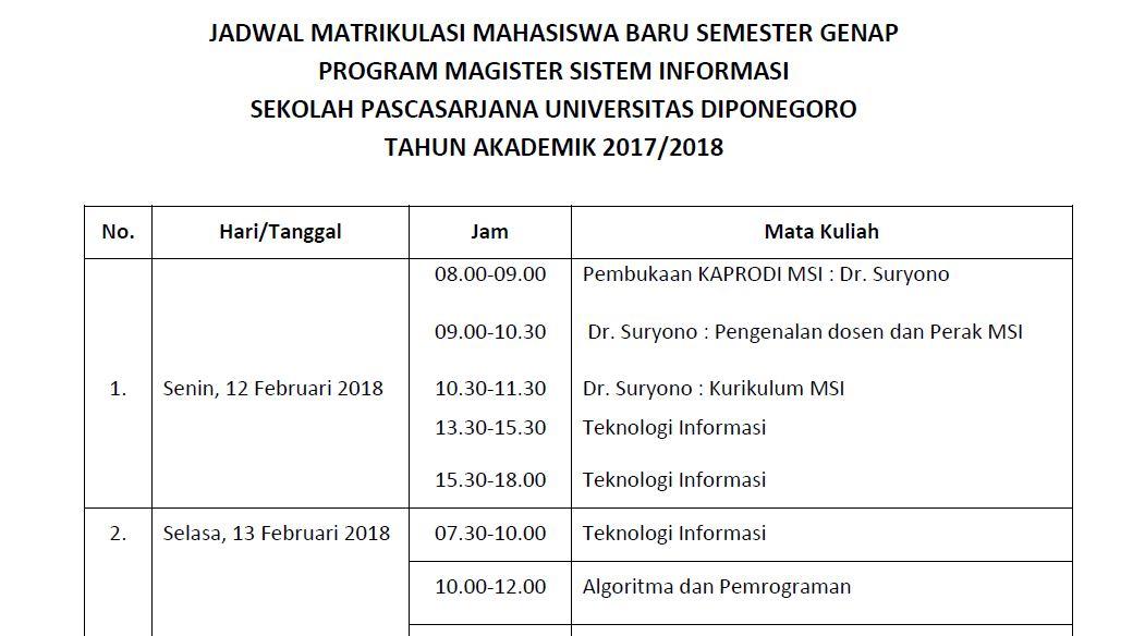 Jadwal Matrikulasi Mahasiswa Baru Semester Genap MSI 2017/2018