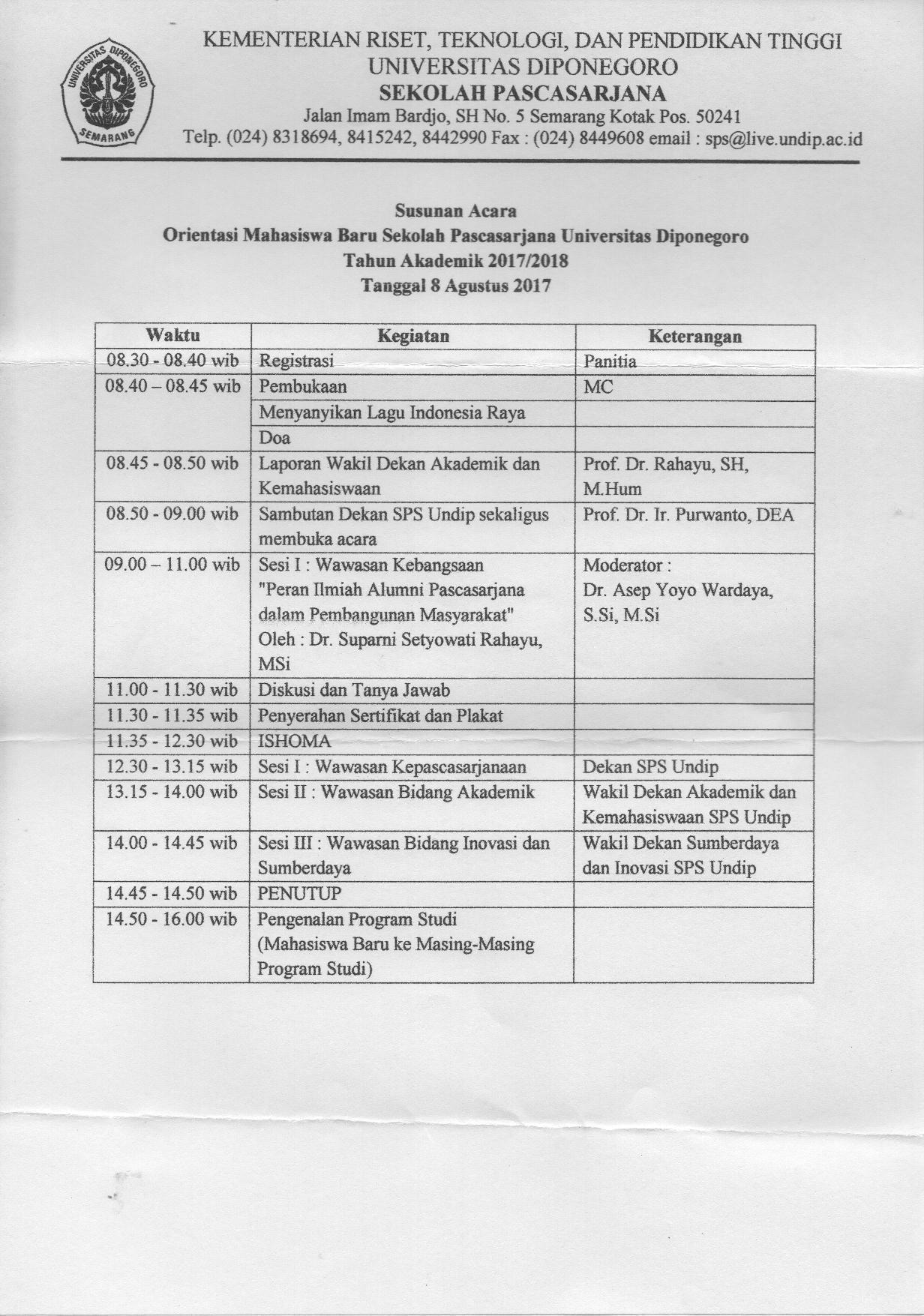 Orientasi Mahasiswa Baru Sekolah Pascasarjana UNDIP 2017/2018