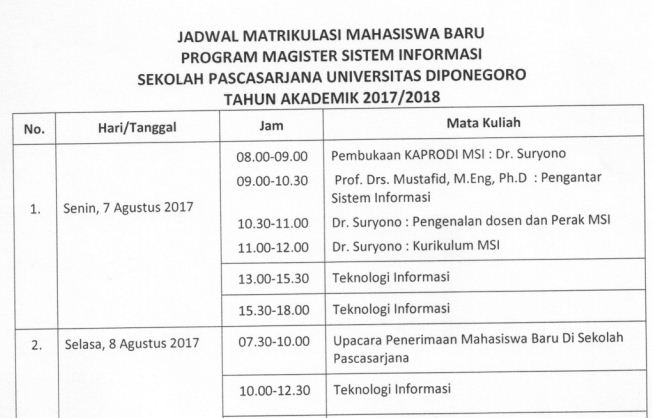 Jadwal Matrikulasi Program Magister Sistem Informasi Tahun Ajaran 2017/2018