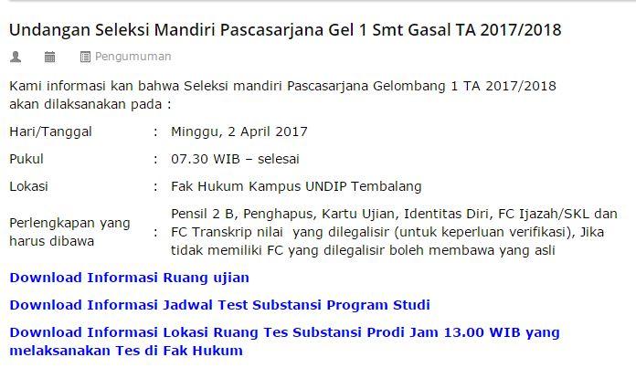 Undangan Seleksi Mandiri Pascasarjana Gelombang 1 Semester Gasal TA 2017/2018